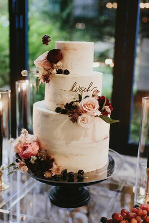 Tiered White Wedding Cake with Roses