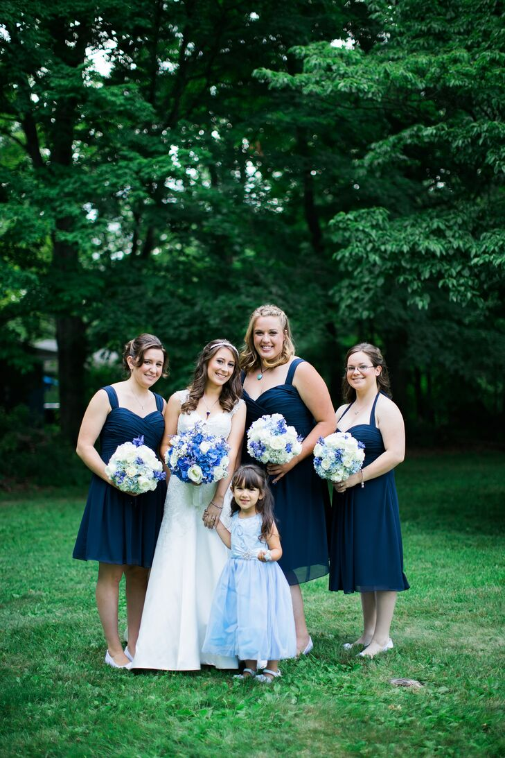 Short Navy Chiffon Bridesmaid Dresses