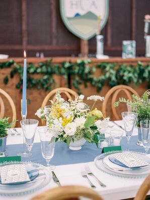 Place Settings with Blue Taper Candles and Glass Tableware