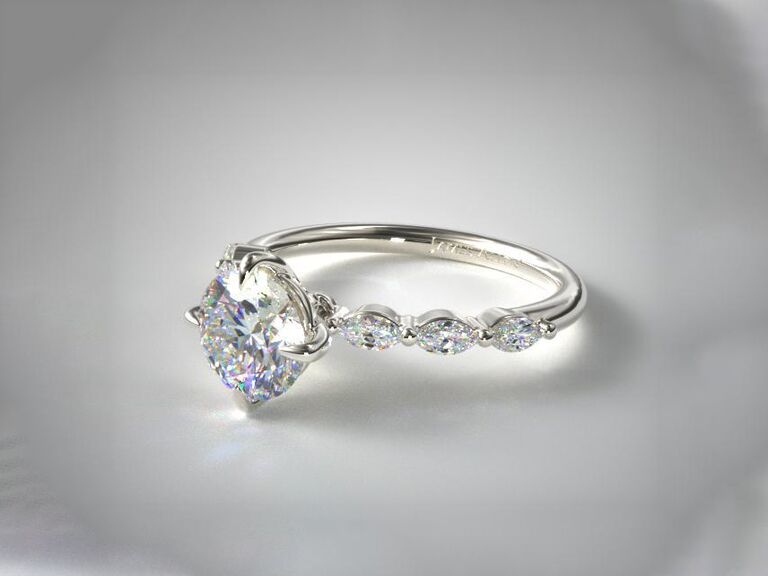 James Allen shared prong marquise side stone diamond engagement ring in 14K white gold