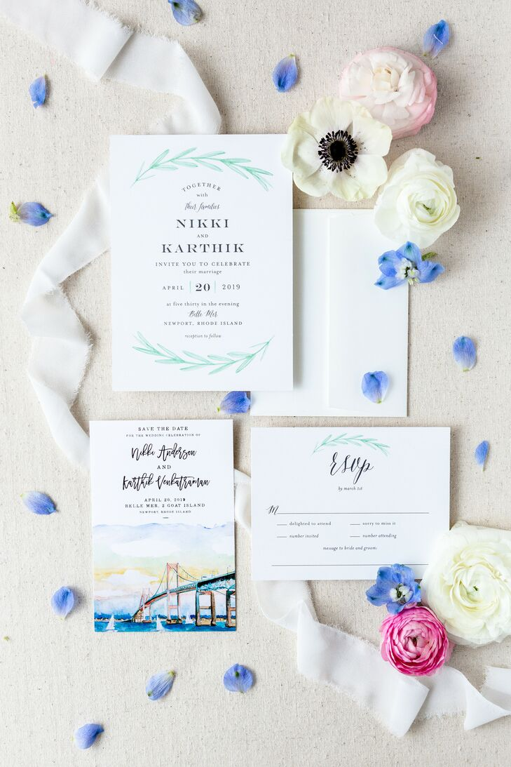 Watercolor Invitations for Military Wedding at Belle Mer in Newport, Rhode Island