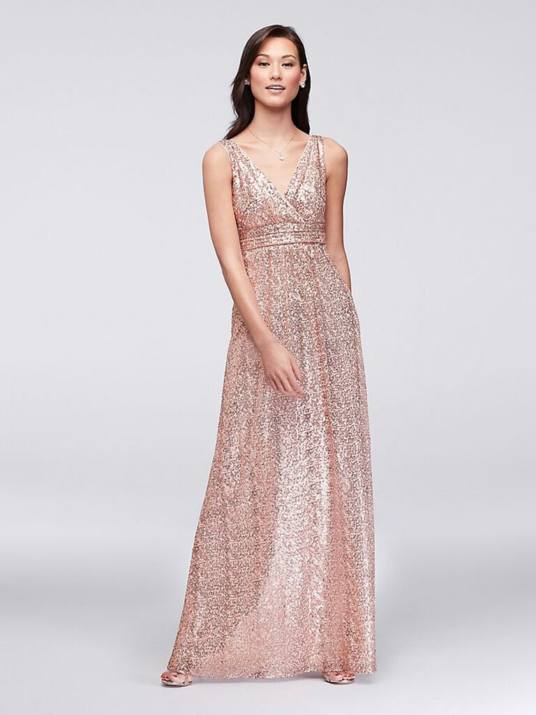 Sleeveless V-neck rose gold sequin bridesmaid dress
