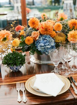 Orange and Blue Flower Arrangement with Mums and Hydrangeas