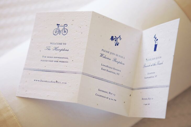 The couple used re-plantable seed paper for their invites and programs.