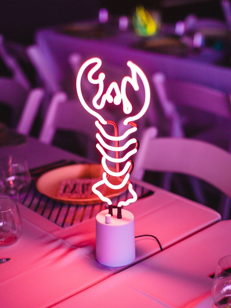 Lobster neon light wedding table number