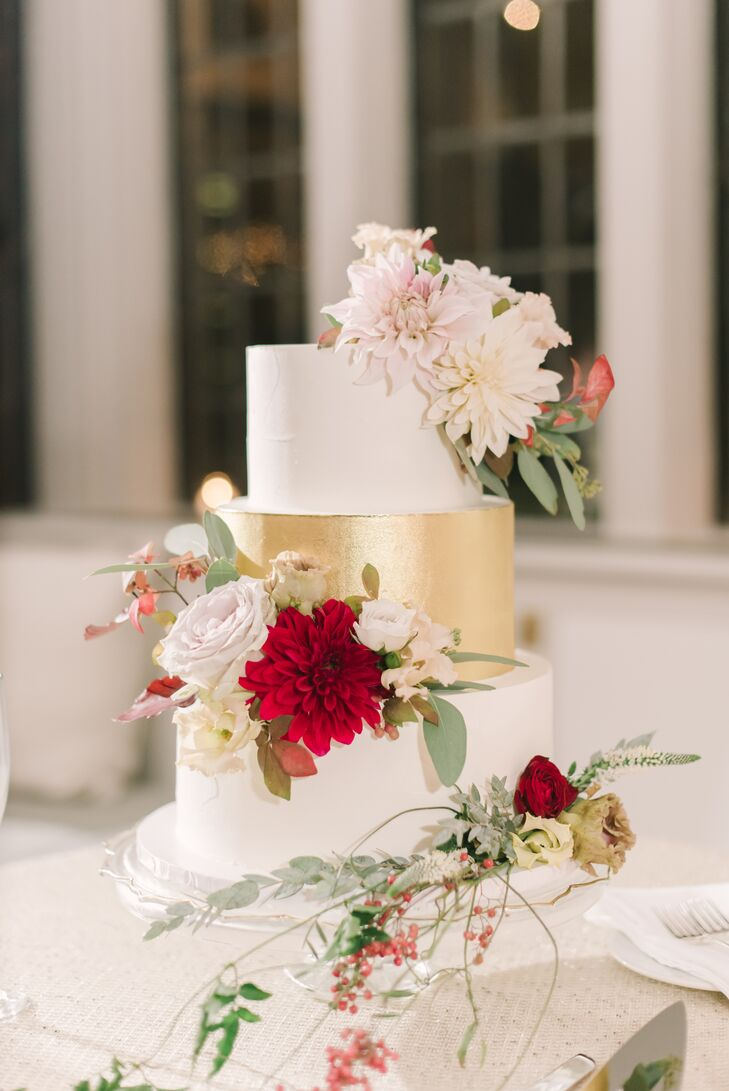 Round, Tiered Cake with Gold Layer and Dahlias