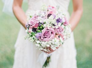 Pink, Purple and White Bouquets with Roses and Hypercium