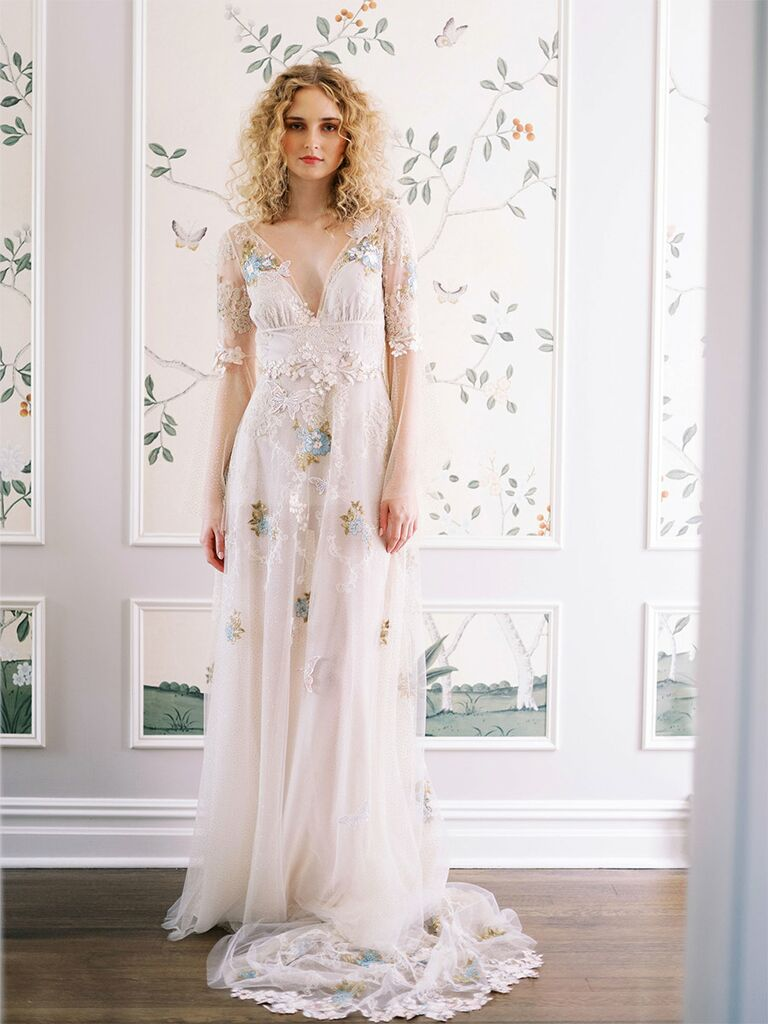 claire pettibone wedding dress long-sleeve colorful lace dress