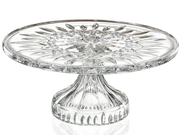 Crystal glass wedding cake stand with intricate design