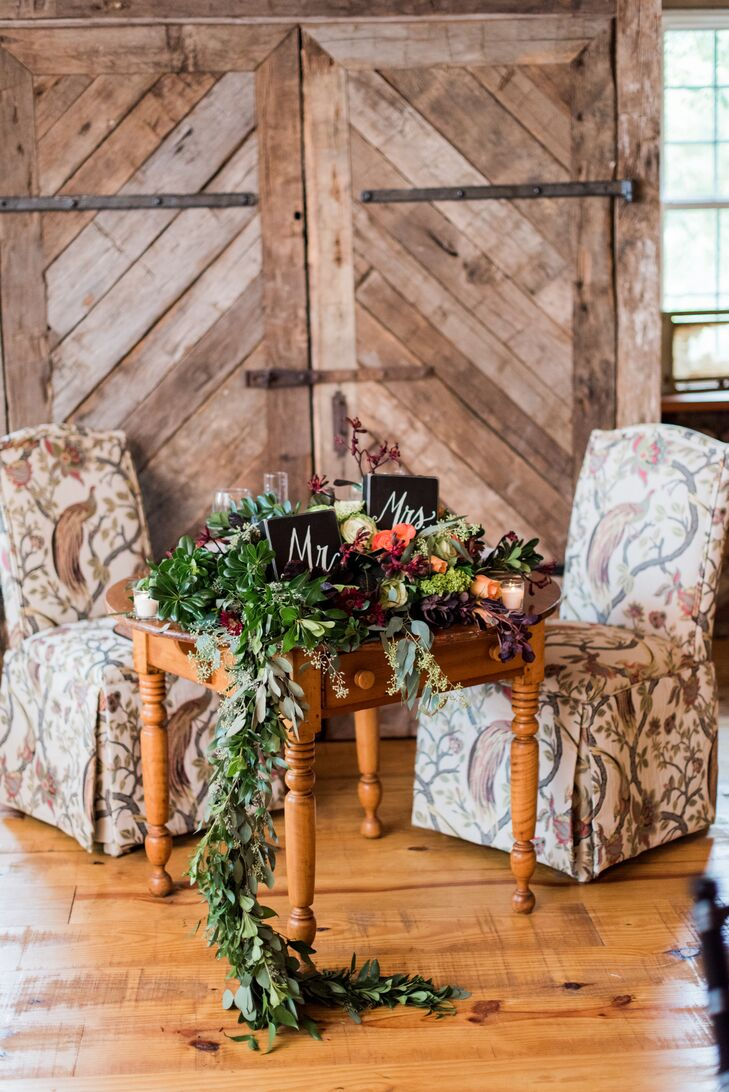 Rustic Sweetheart Chairs and Sweetheart Table with Greenery Garland