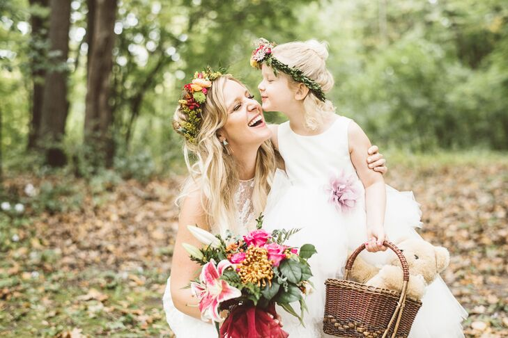 Boho Flower Girl with Flower Crown and Basket