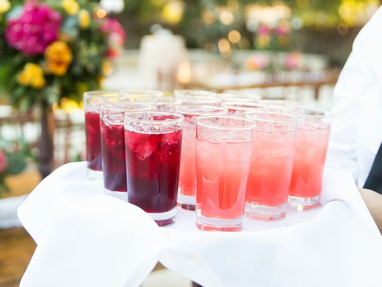 cb4e42276f9 Bride and groom toasting wedding guests at outdoor party