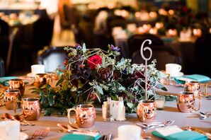 Copper Mugs and Autumnal Arrangements on Dining Table