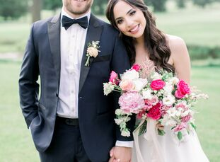 "Arielle Jacobs, a recruiter for XO Group, wed Zach Weiner in ""whimsical, enchanting fairy tale"" celebration at Fiddler's Elbow Country Club in Bedmins"