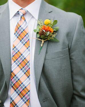 Orange Plaid Tie with Billy Ball Boutonniere