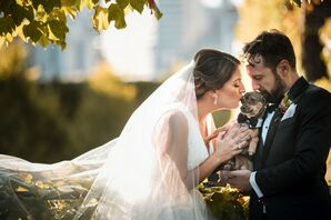 Couple Kissing Their Dog at The Foundry in Long Island City, New York