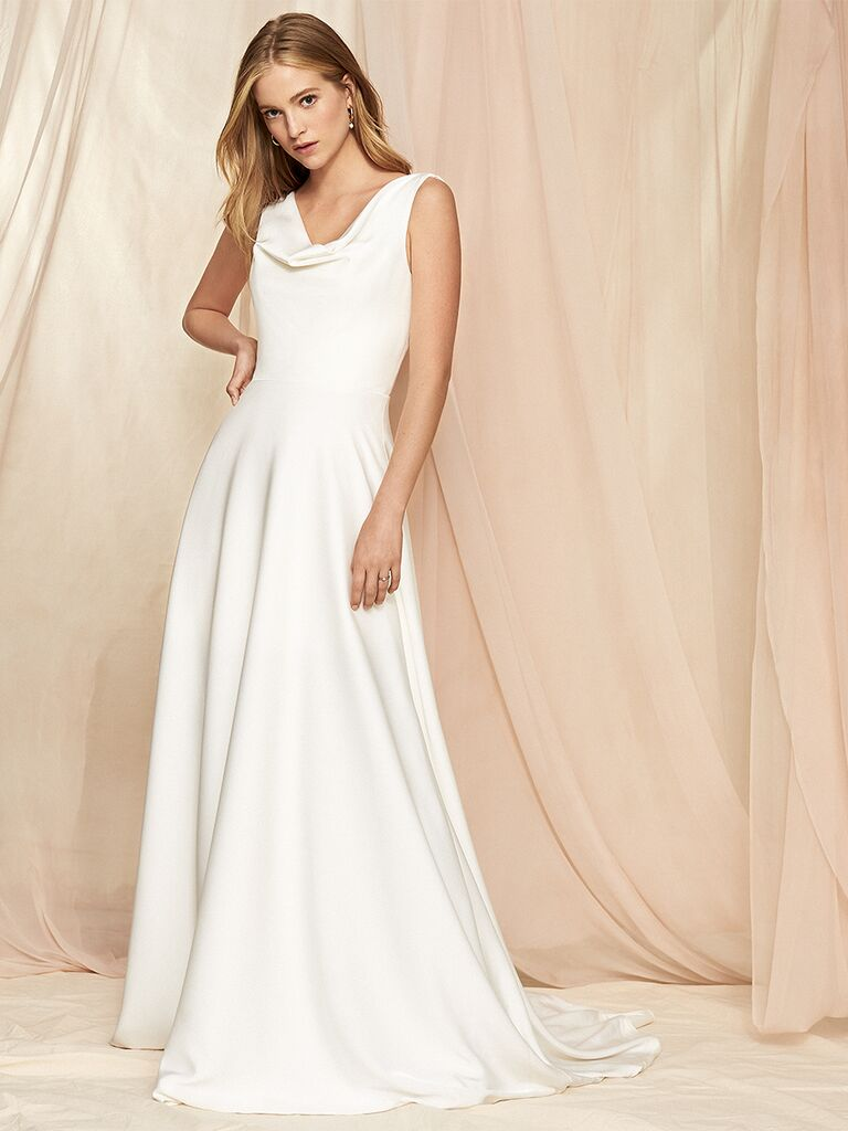 Savannah Miller A-line wedding dress with cowl neckline