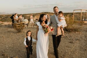 Natural Bohemian Couple and Kids at Willow House in Terlingua, Texas