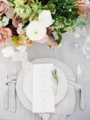 Textured Ivory Dinnerware and Silver Flatware