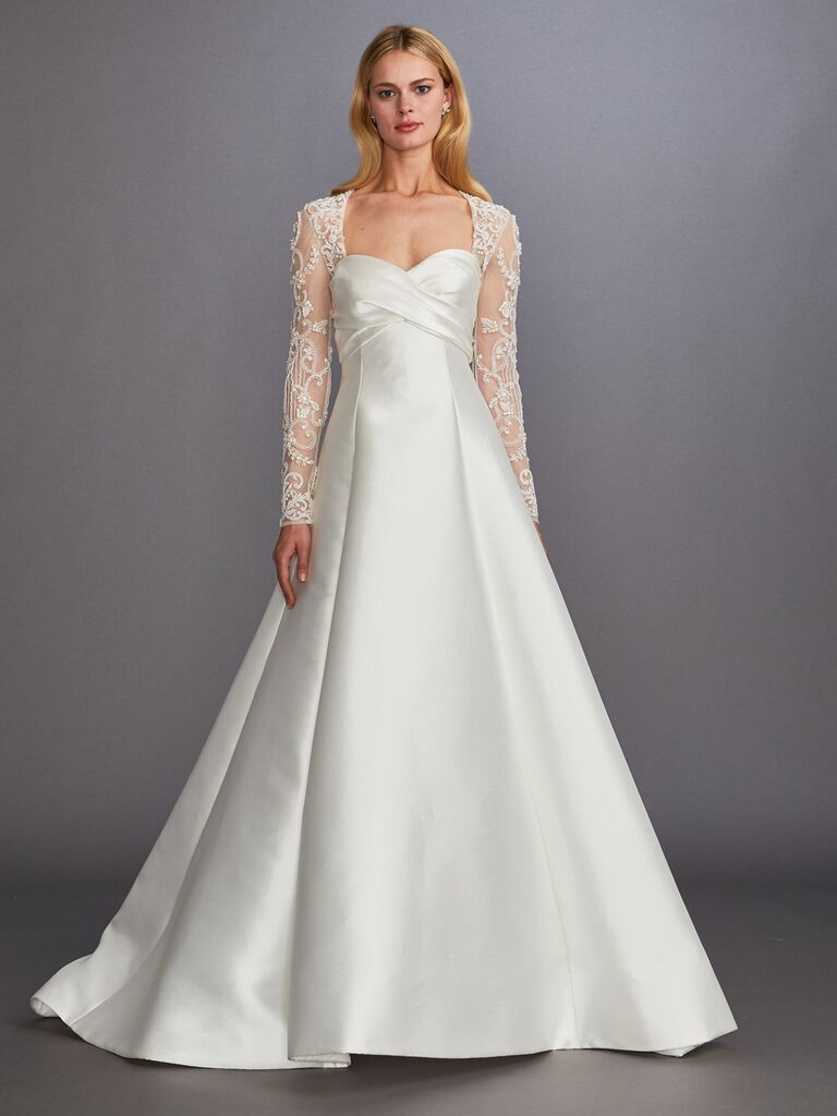 Allison Webb Fall 2019 Bridal Collection A-line wedding dress with sweetheart neckline and lace sleeves