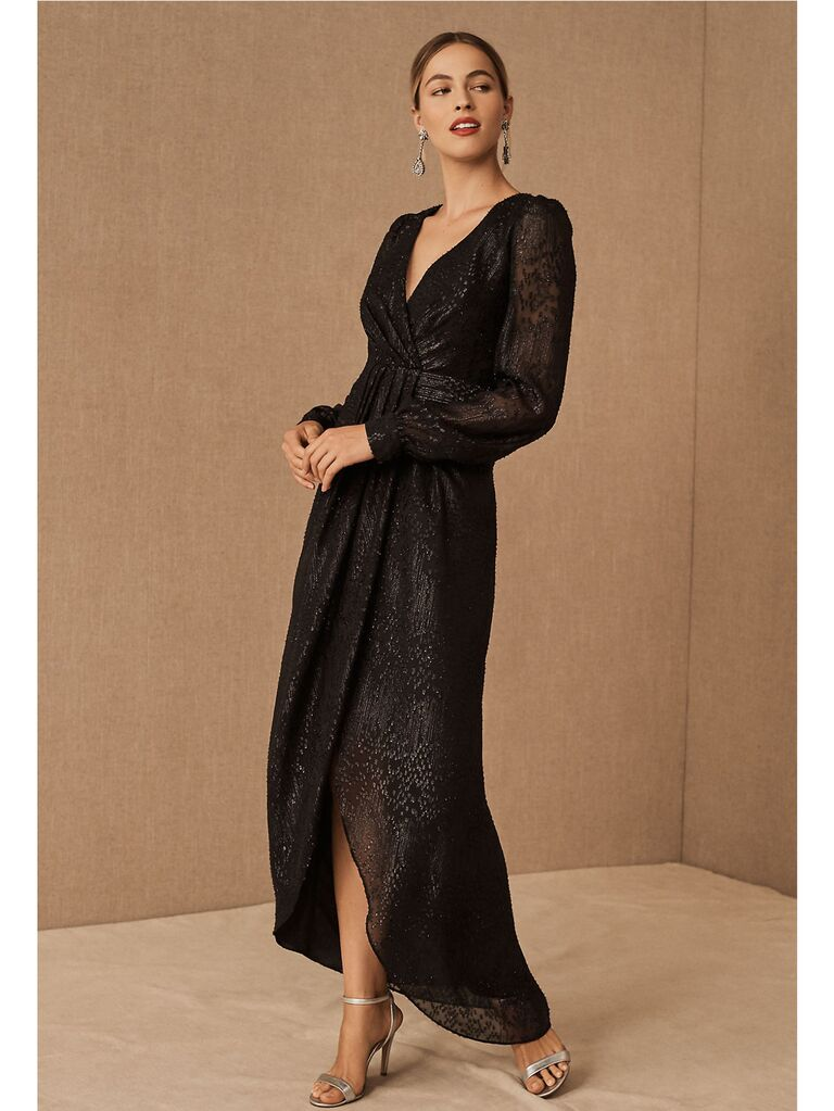 Black shimmer maxi dress with sheer long sleeves