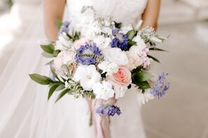 Bouquet with Pink Roses, White Carnations and Scabiosa