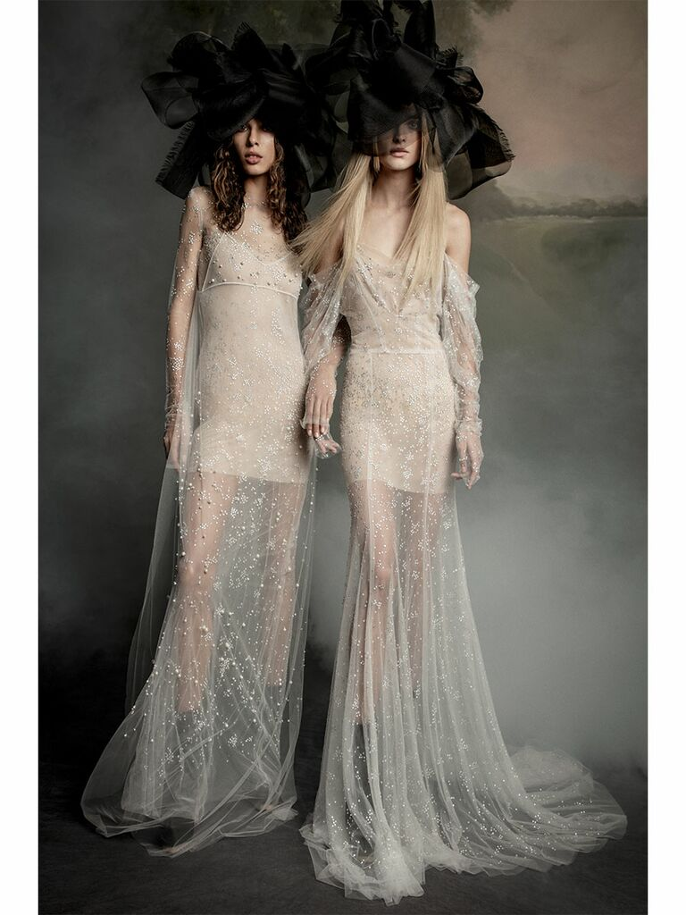 Vera Wang wedding dress sheer nude gowns