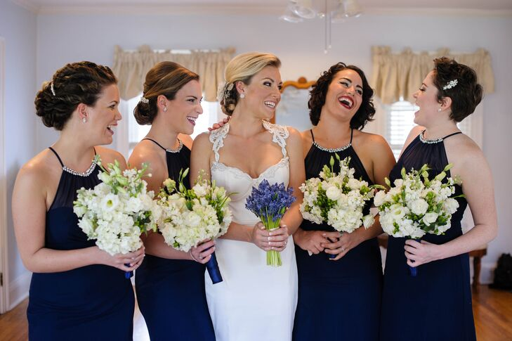 Navy Blue Bridesmaid Dresses and White Bouquets