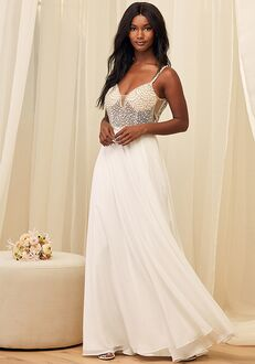 Lulus True Love White Beaded Rhinestone Maxi Dress Wedding Dress