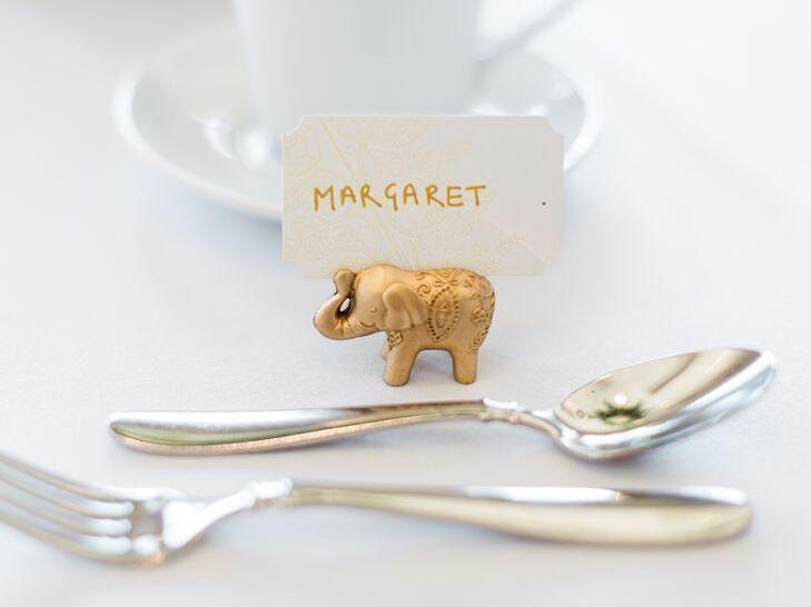 Gold Elephant Escort Card Holders