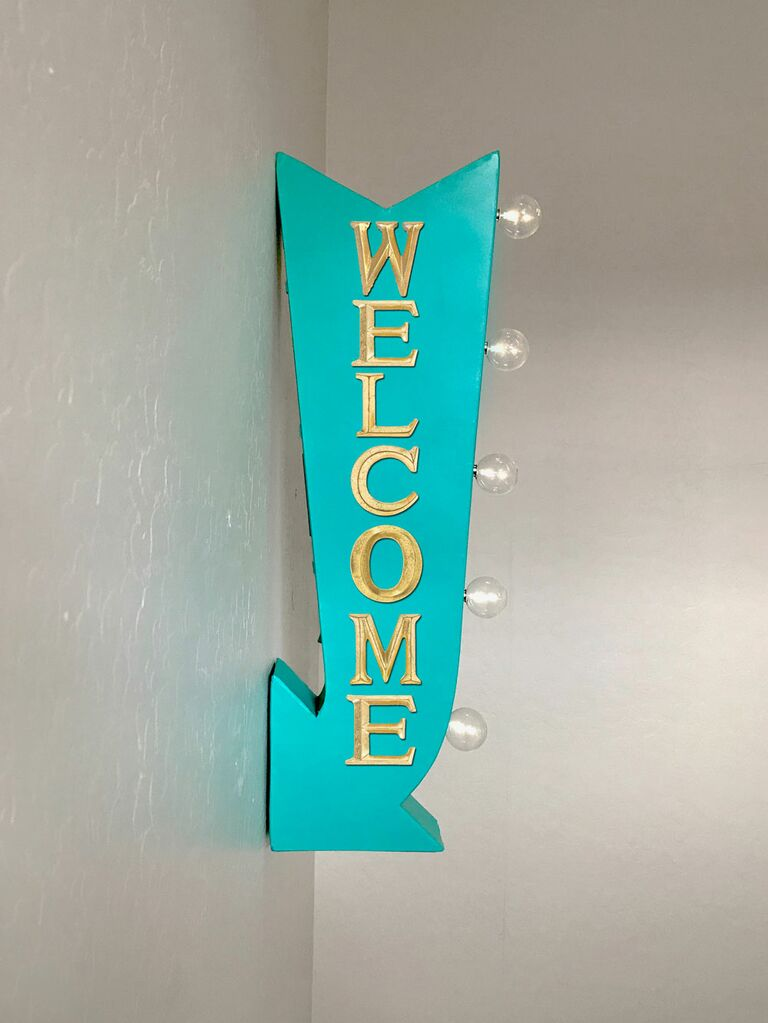 Retro directional wedding welcome sign