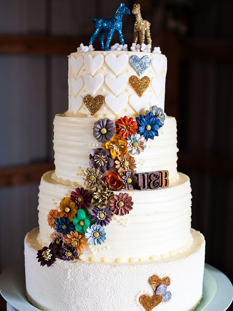 Rustic wedding cake decor