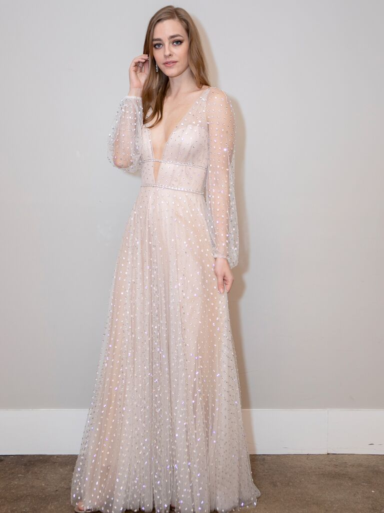 BHLDN Spring 2020 Bridal Collection embellished sheer wedding dress with long sleeves and a plunging neckline