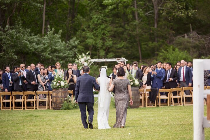 Processional for Rustic Wedding at Barn at Liberty Farms in New York