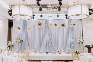 White and Blue Draping at Reception