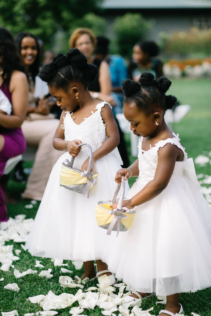 Flower Girls at Wedding at Mystical Rose Gardens in Baldwin, Wisconsin