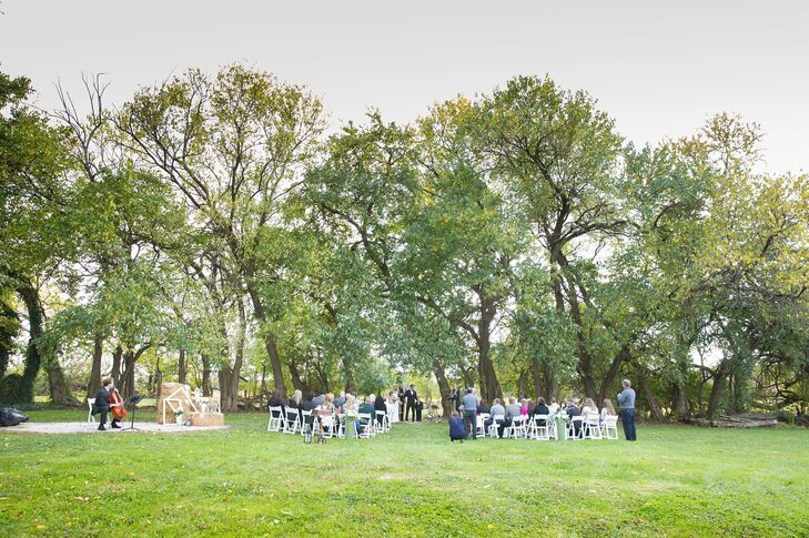 The ceremony took place outdoors on the lawn at Worsell Manor in the beautiful fall weather. Stephanie and Patrick hired a cellist to play live music during the ceremony.