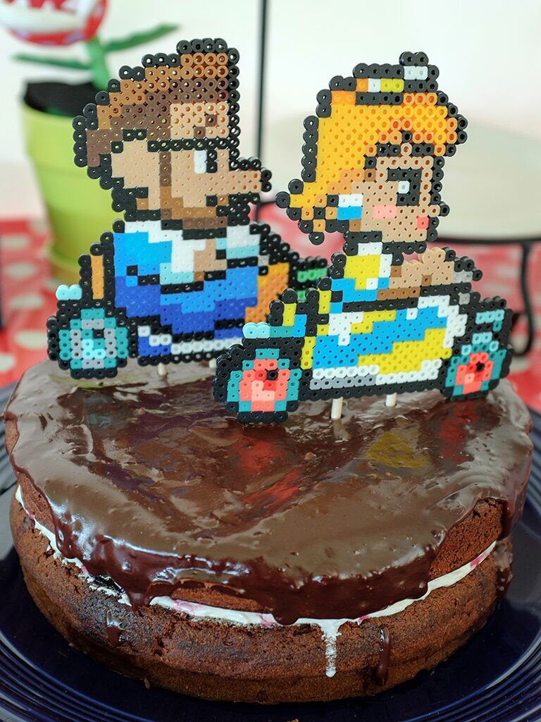 DIY perler wedding cake topper idea