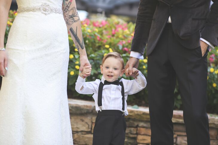The Couple's Son in a Classic Black Tuxedo
