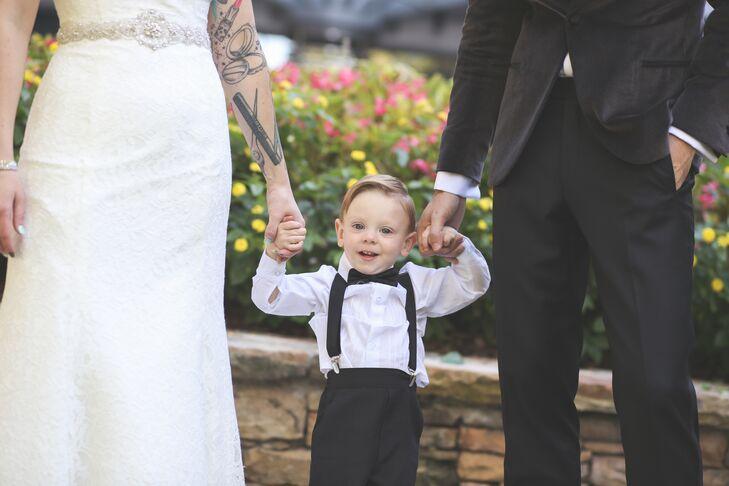 The Couple's Son in a Classic Black Tuxedo