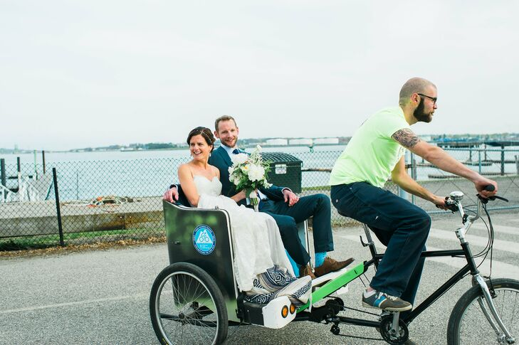 Lauren and Dave made their exit from the ceremony in style, making their way to The Portland Co. for the reception in a pedi-cab. The two took in the beautiful views of Casco Bay from Portland, Maine's Eastern Promenade and enjoyed a few private moments before reuniting with family and friends for an evening of celebrating.