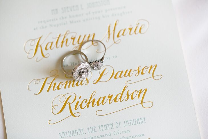 Gold Letterpress Wedding Invitation