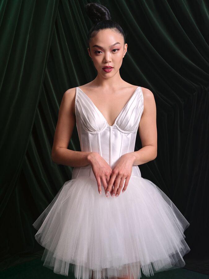 Wiederhoeft draped-cup corset and mini tutu skirt