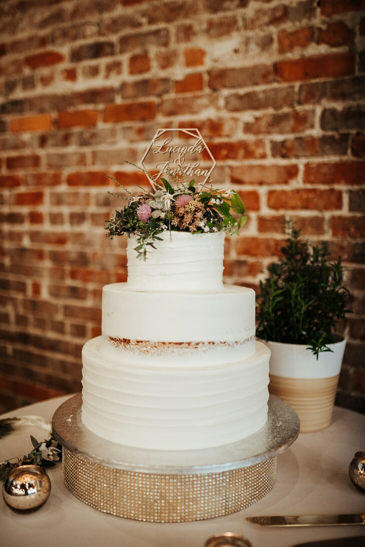 Modern Wedding Cake with Personalized Topper, Gold Cake Stand and Wildflowers