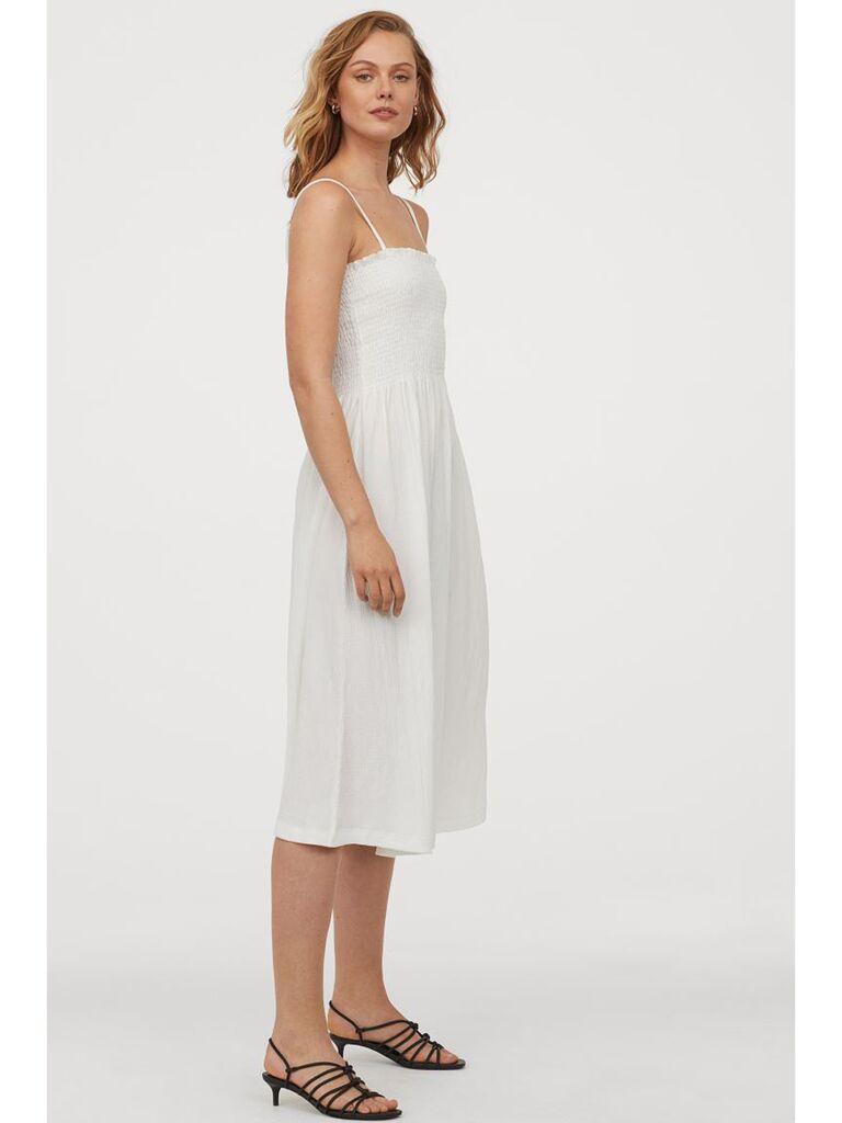 White midi dress with smocked bodice