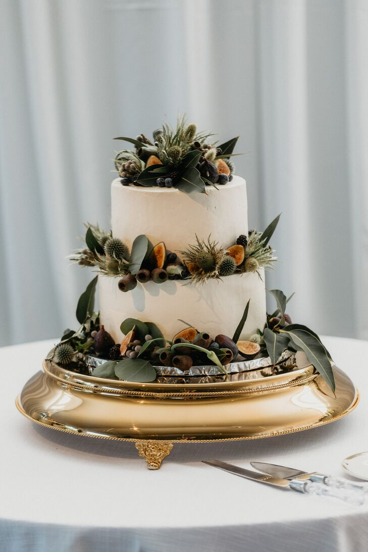Tiered Cake with Eucalyptus on Gold Stand