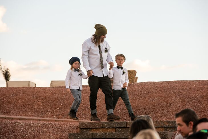"""Jesse has probably never worn a tux in his life, so I was not about to put him in something he's not comfortable in,"" Christa says. Instead, Jesse walked down the aisle with their sons in jeans, a white button-down shirt, a floral tie, boots and his signature beanie."