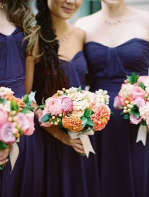 Bridesmaids with Bright Bouquets of Peonies and Dahlias Tied with Bows