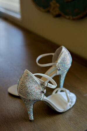 Silver Shoes with Sparkly Rhinestones