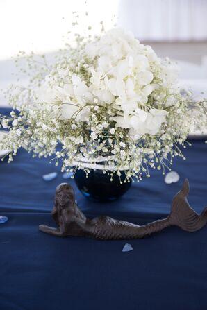 White Hydrangea and Baby's Breath Centerpiece